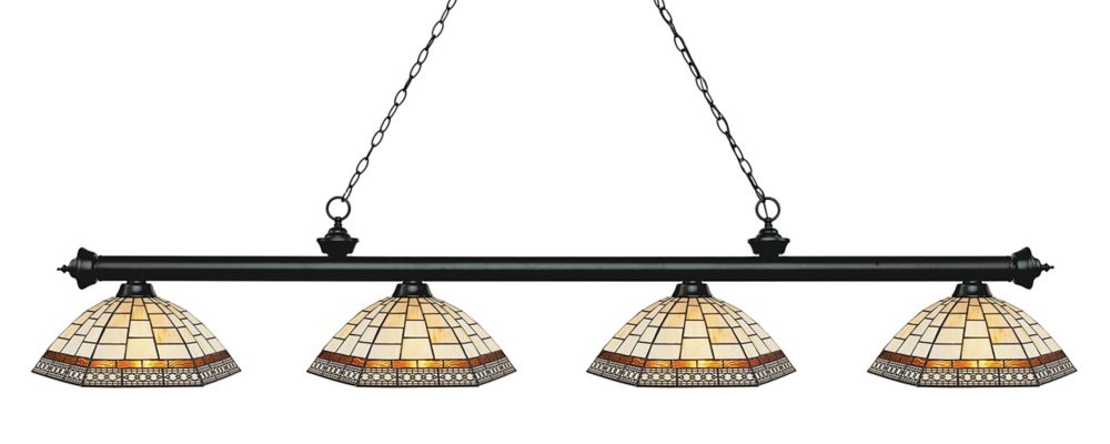 Filament Design 4-Light Matte Black Island/Billiard with Multi Colored Tiffany Glass - 80.75 inch