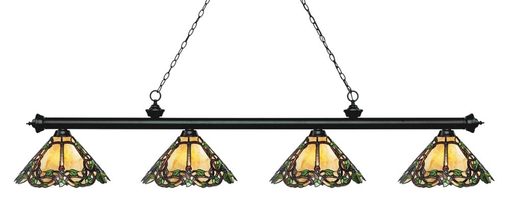 4-Light Matte Black Billiard with Tiffany Glass - 80.5 inch