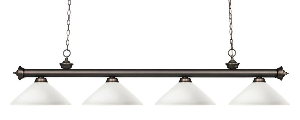 Filament Design 4-Light Olde Bronze Billiard with Matte Opal Glass - 80 inch
