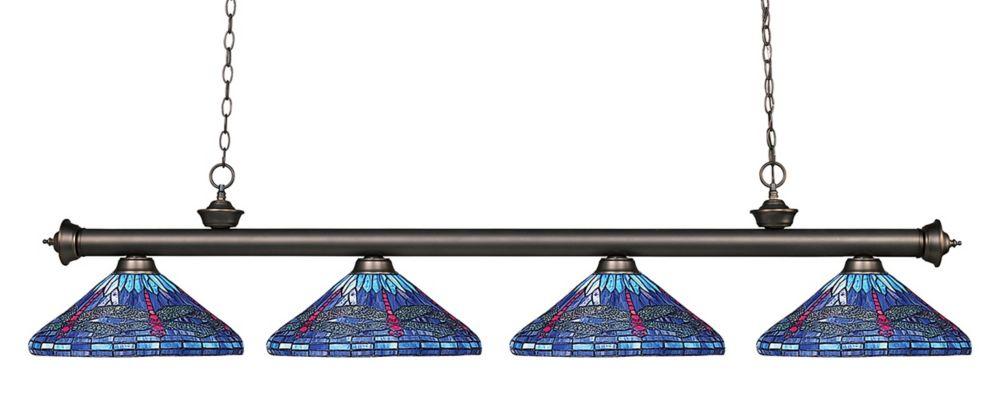 Filament Design 4-Light Olde Bronze Billiard with Multi Colored Tiffany Glass - 82 inch