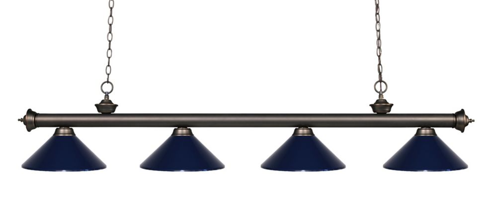 Filament Design 4-Light Olde Bronze Island/Billiard with Navy Blue Steel Shade - 80 inch