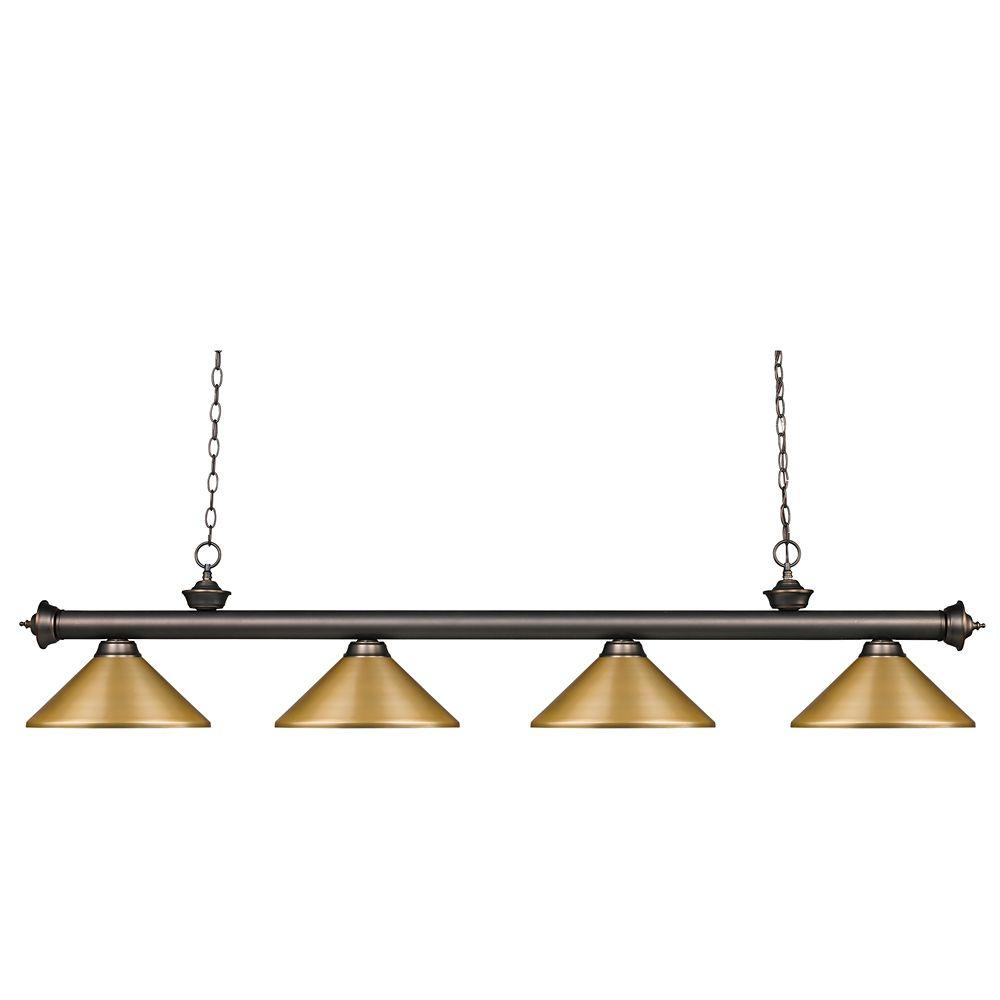 Filament Design 4-Light Olde Bronze Island/Billiard with Satin Gold Steel Shade - 80 inch