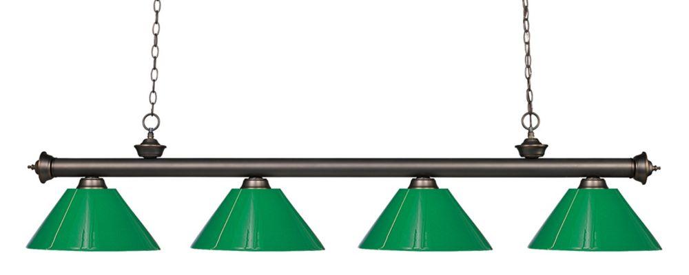 Filament Design Billard Vieux avec 4 Lumières, Bronze, Vert - 80 pouces