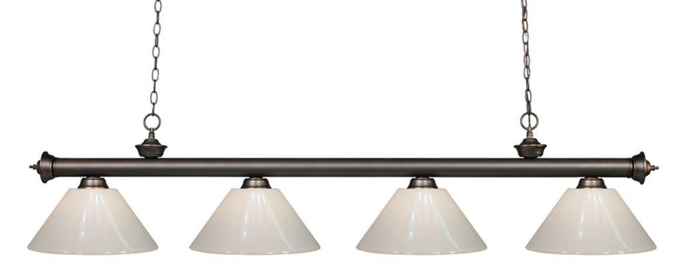 Filament Design 4-Light Olde Bronze Island/Billiard with White Plastic - 80 inch
