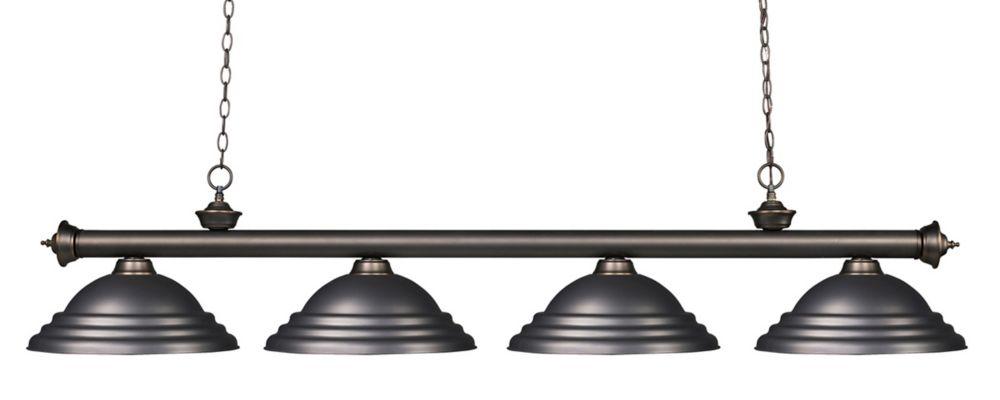 Filament Design 4-Light Olde Bronze Island/Billiard with Olde Bronze Steel Shade - 82 inch
