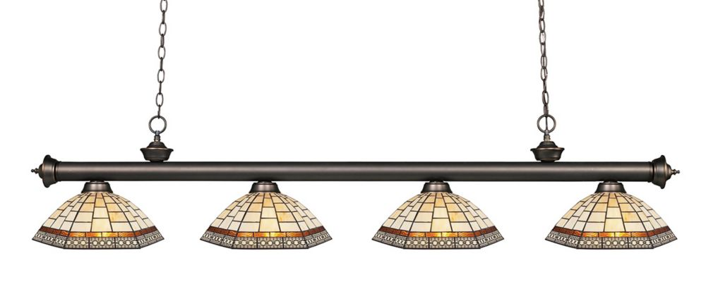 4-Light Olde Bronze Dimmable Billiard with Multi Colored Tiffany Glass