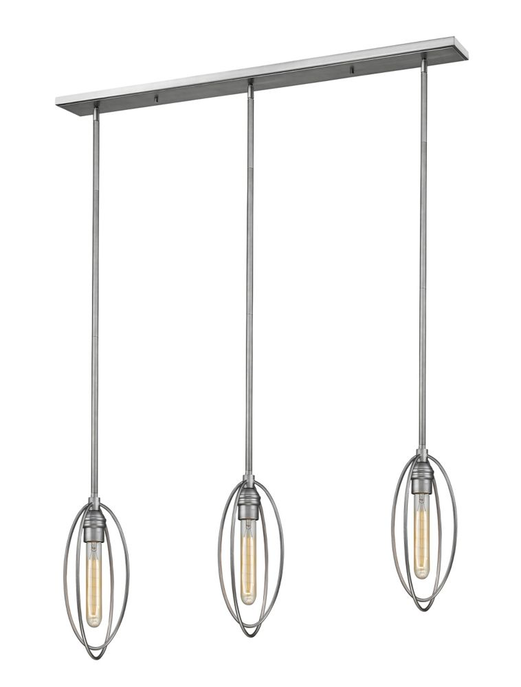 Filament Design 3-Light Old Silver Island/Billiard - 46 inch
