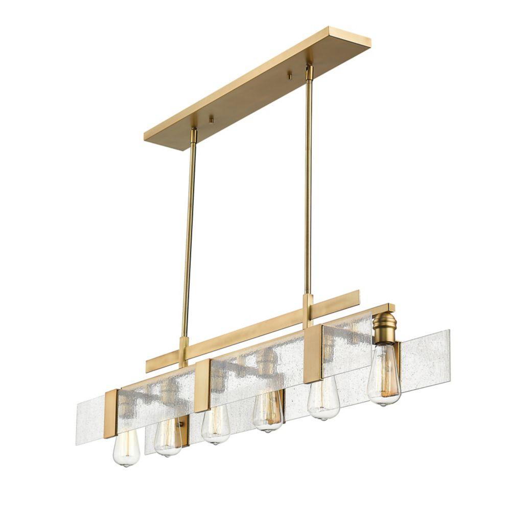 Filament Design 6-Light Vintage Brass Island/Billiard with Seedy Glass - 41.5 inch