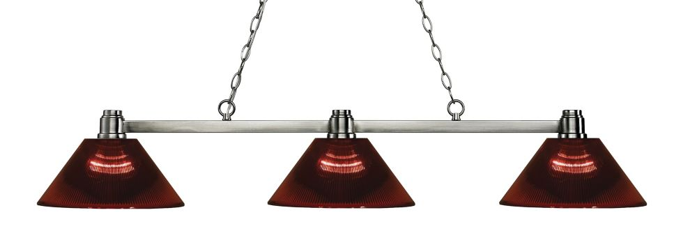 Filament Design 3-Light Brushed Nickel Island/Billiard with Burgundy Acrylic Shade - 53.25 inch