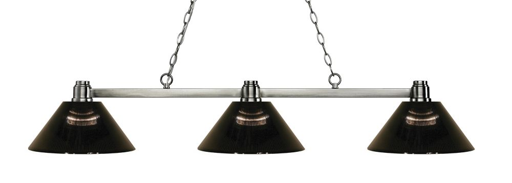 Filament Design 3-Light Brushed Nickel Island/Billiard with Smoke Acrylic Shade - 53.25 inch
