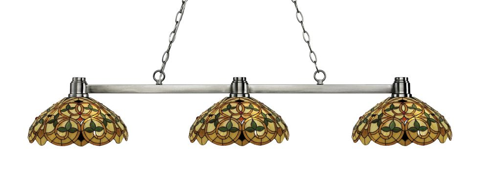 3-Light Brushed Nickel Billiard with Multi Colored Tiffany Glass - 52.75 inch