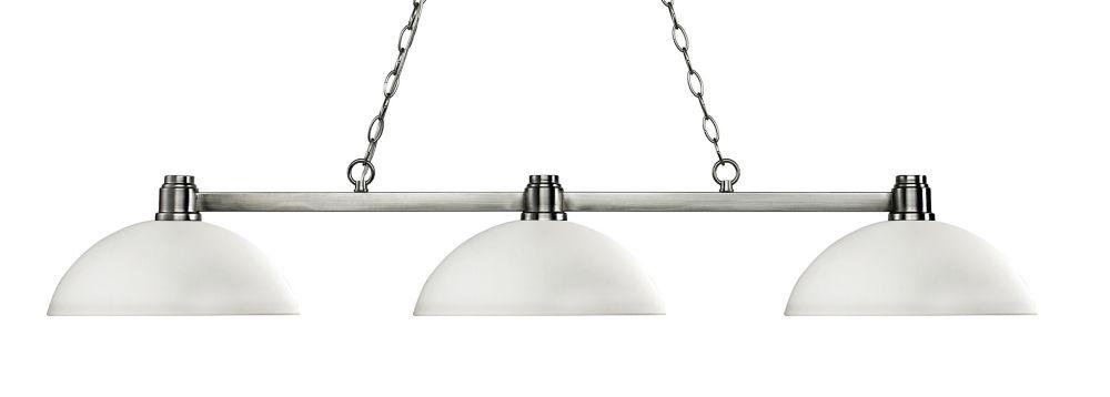 3-Light Brushed Nickel Island/Billiard with Matte Opal Glass - 52.5 inch