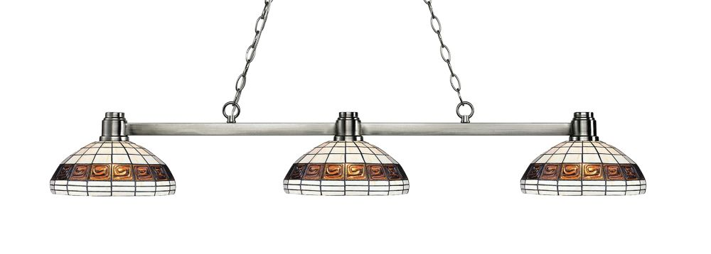 Filament Design 3-Light Brushed Nickel Billiard with Multi Colored Tiffany Glass - 53 inch
