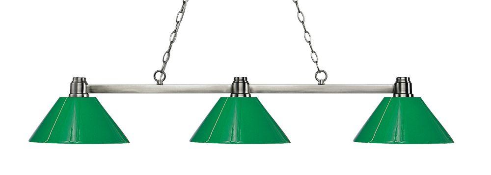 3-Light Brushed Nickel Island/Billiard with Green Plastic - 53 inch