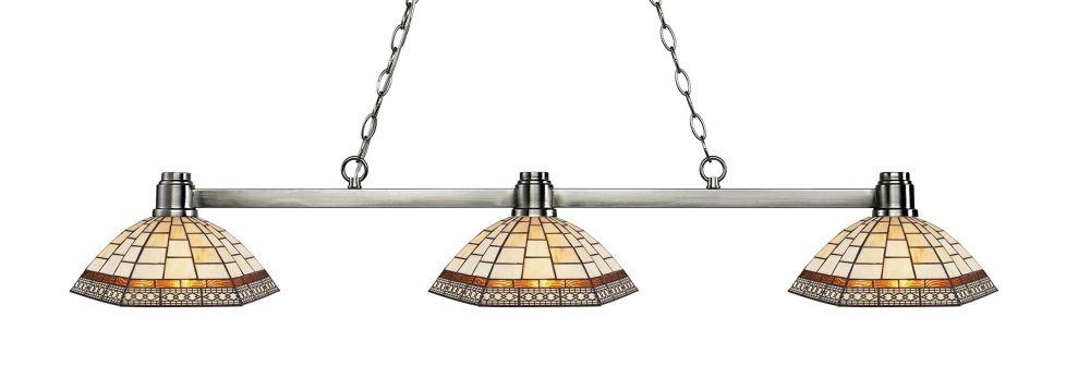 Filament Design 3-Light Brushed Nickel Island/Billiard with Multi Colored Tiffany Glass - 53.25 inch