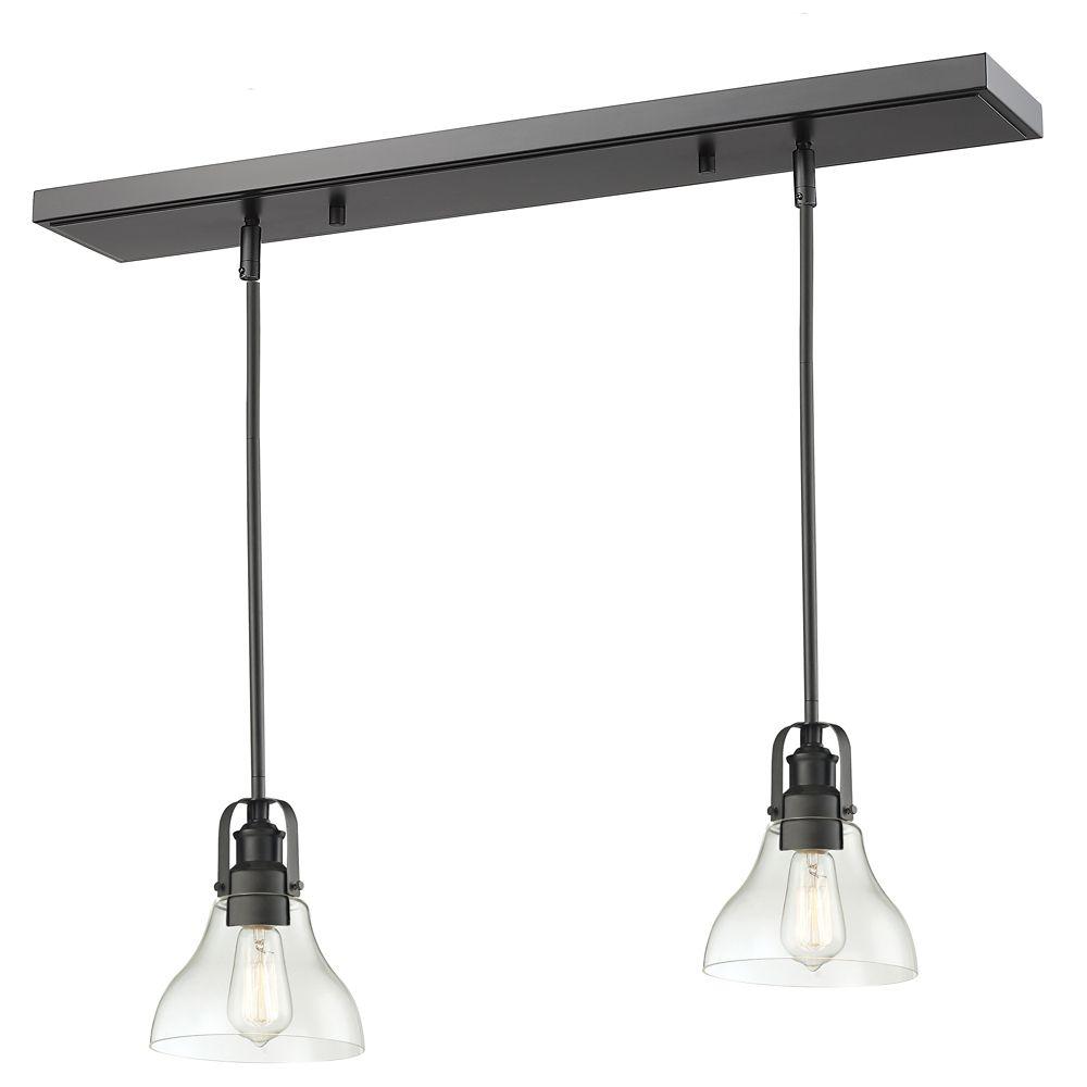 Filament Design 1-Light Bronze Island/Billiard with Clear Glass - 30 inch