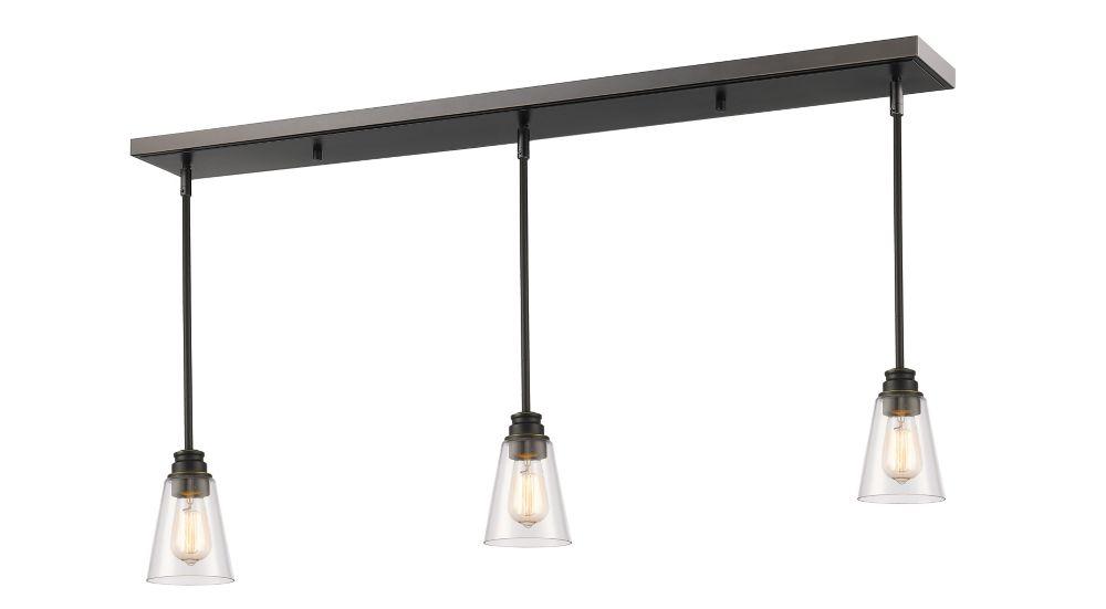 Filament Design 3-Light Olde Bronze Island/Billiard with Clear Glass - 47.5 inch