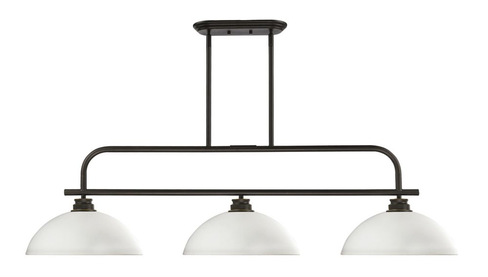 Filament Design 3-Light Olde Bronze Island/Billiard with Matte Opal Glass - 51.25 inch
