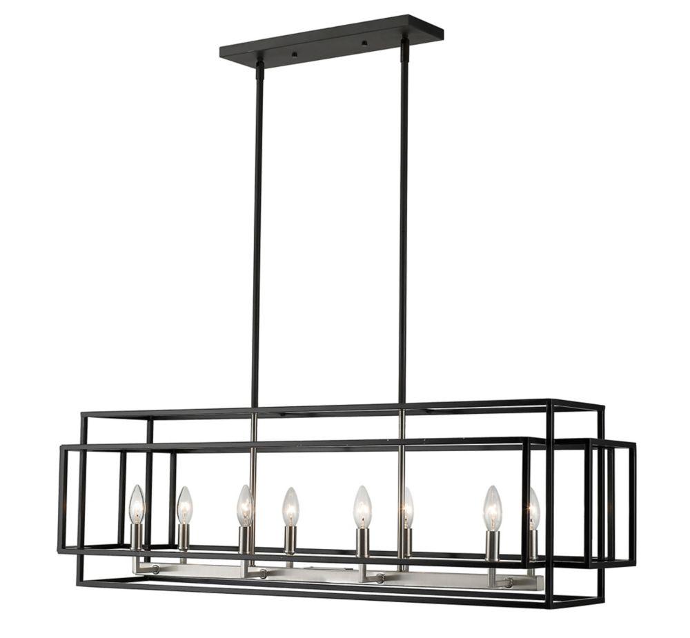Filament Design 8-Light Black and Brushed Nickel Island/Billiard - 44 inch