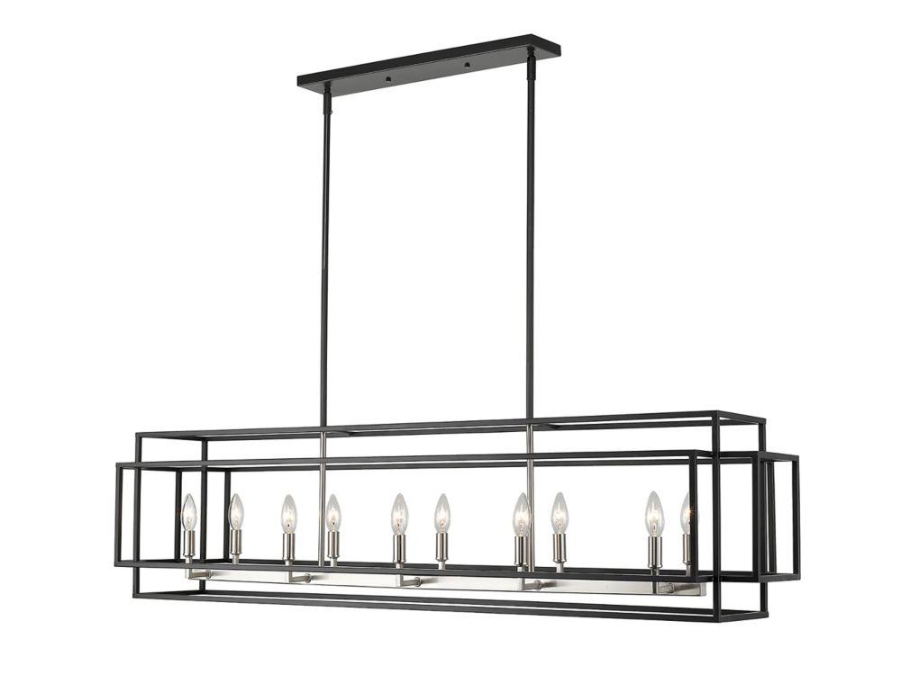 Filament Design 10-Light Black and Brushed Nickel Island/Billiard - 54 inch