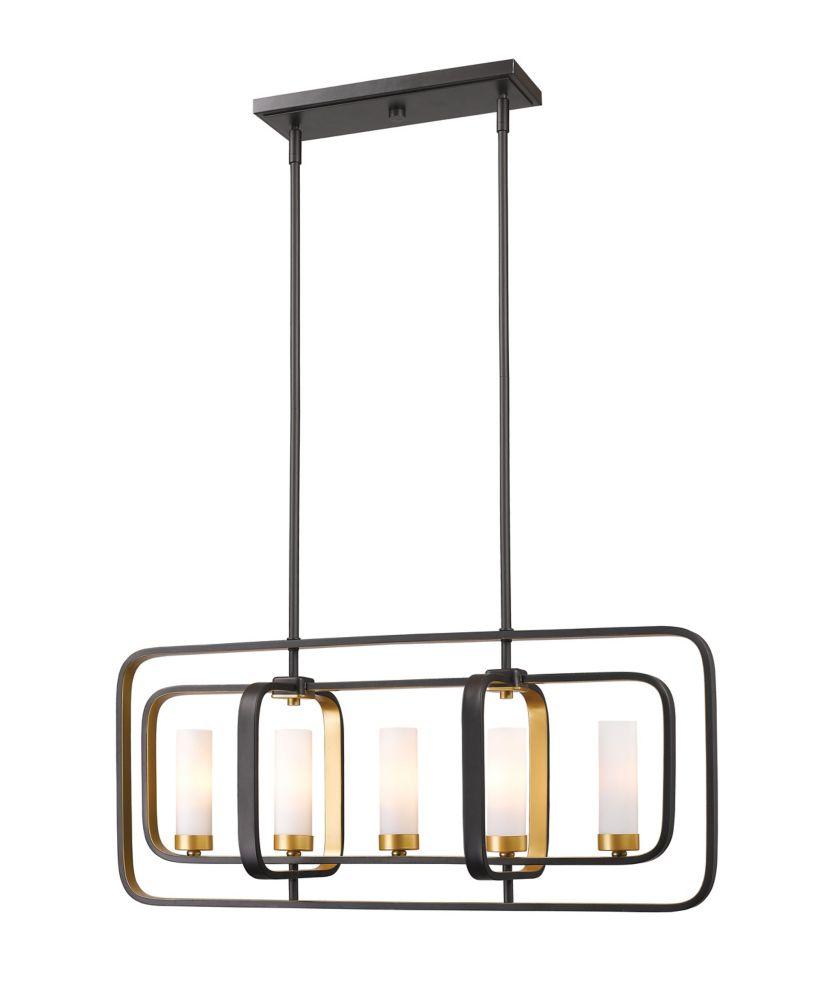 Filament Design 5-Light Bronze Gold Island/Billiard with Matte Opal Glass - 32 inch
