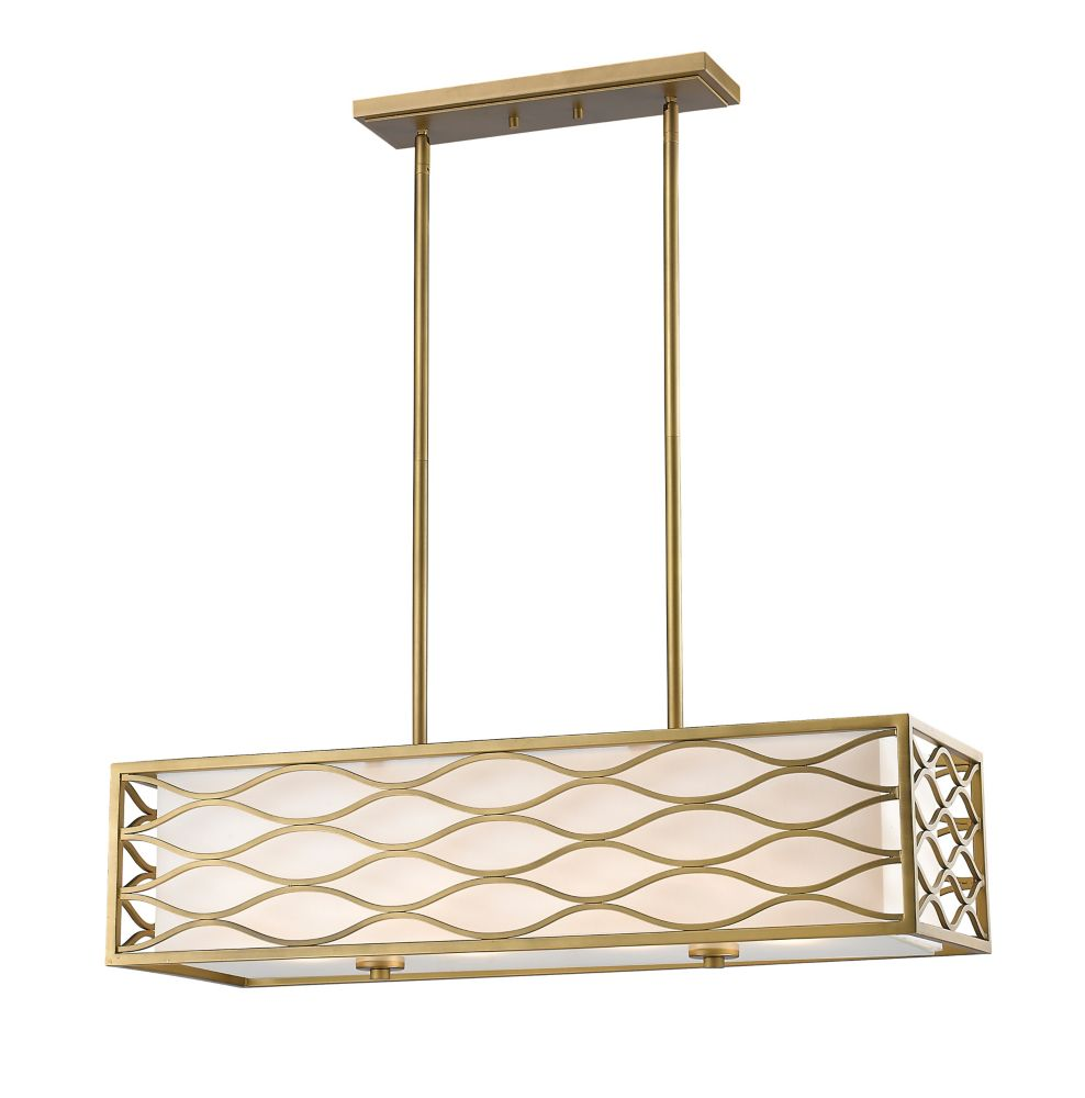 Filament Design 4-Light Old Gold Island/Billiard with White Linen Fabric Shade - 32 inch