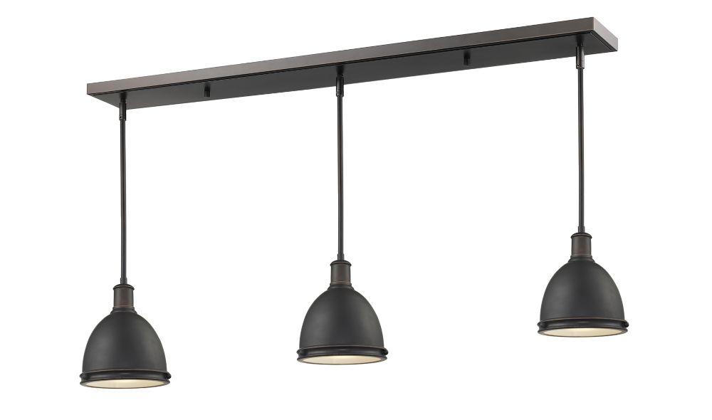 Filament Design 3-Light Olde Bronze Billiard with Olde Bronze Steel Shade