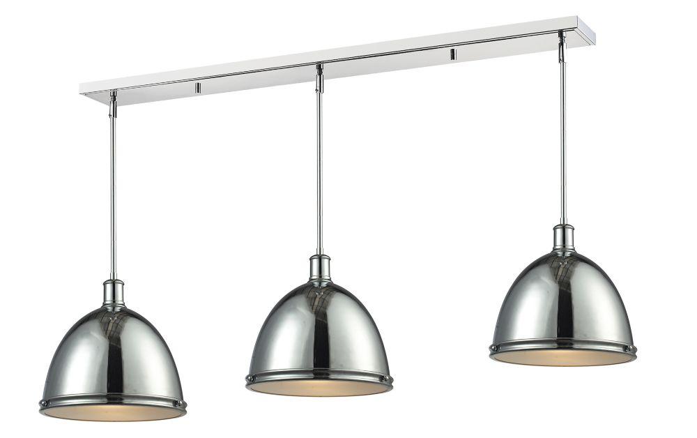 Filament Design 3-Light Chrome Island/Billiard with Chrome Steel Shade - 55 inch