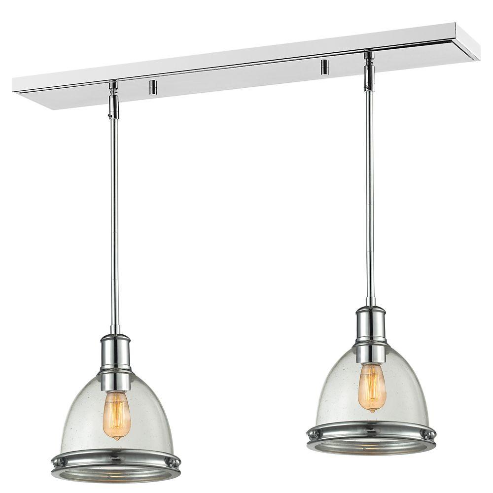 Filament Design 1-Light Chrome Island/Billiard with Clear Seedy Glass - 30 inch