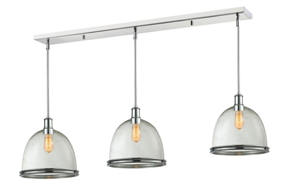 Filament Design 3-Light Chrome Island/Billiard with Clear Seedy Glass - 55 inch