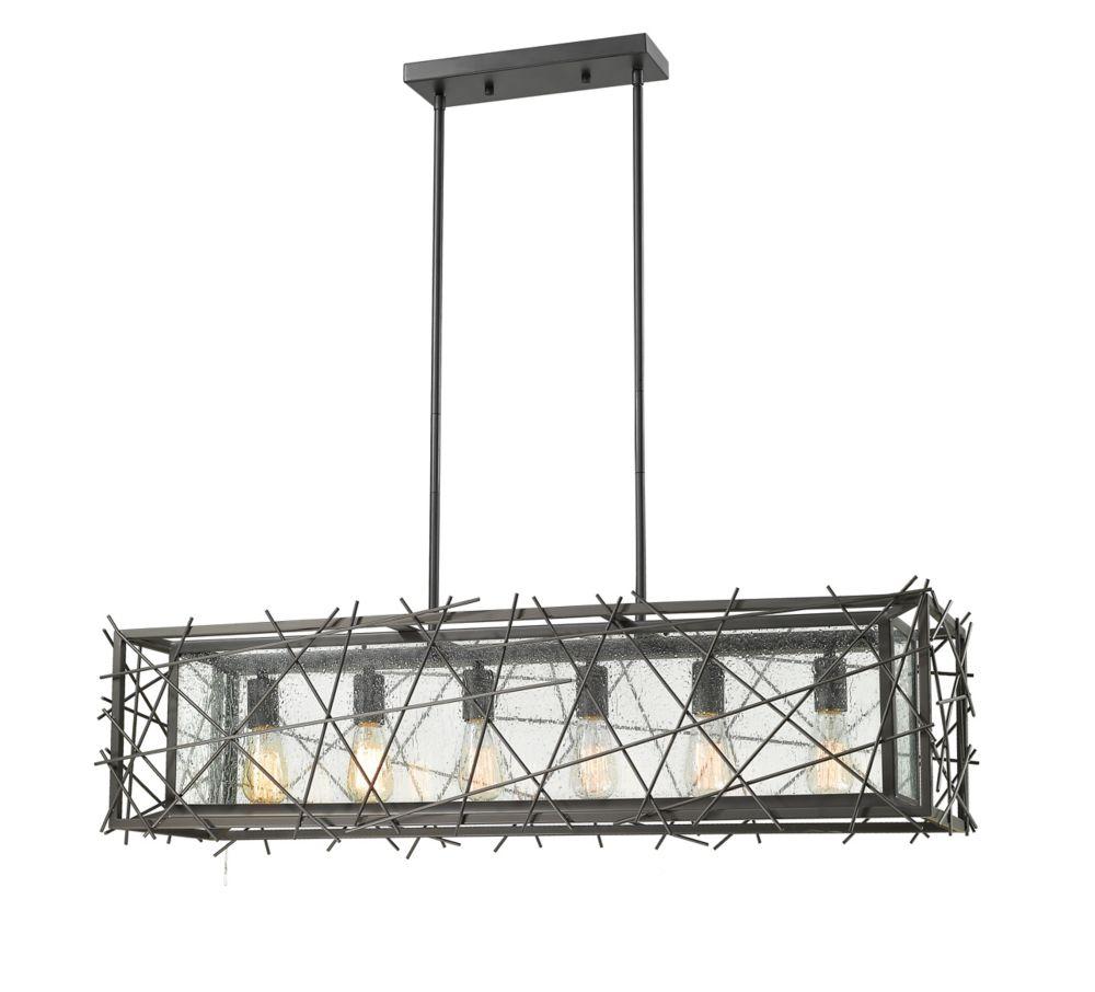 Filament Design 6-Light Bronze Island/Billiard with Water Droplet Glass - 42 inch