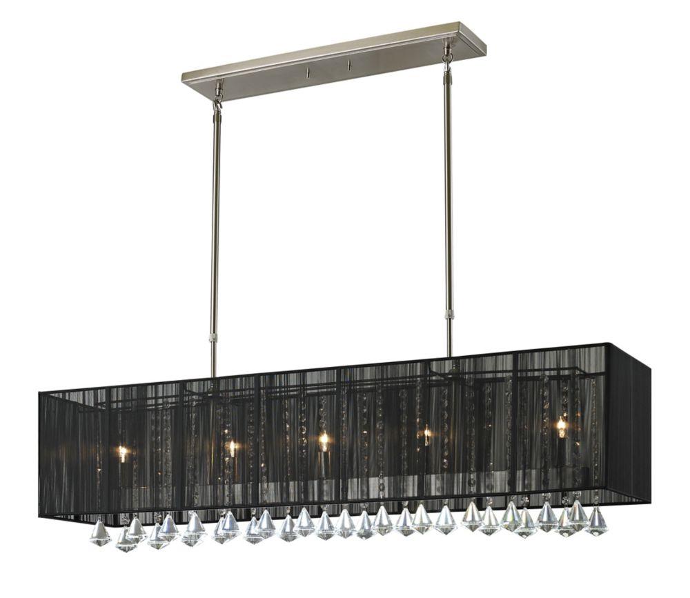 Filament Design 5-Light Brushed Nickel Island/Billiard with Black Silk String Shade - 45 inch