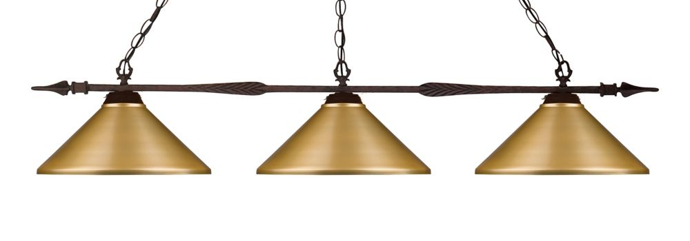 Filament Design 3-Light Bronze Island/Billiard with Satin Gold Steel Shade - 49.75 inch