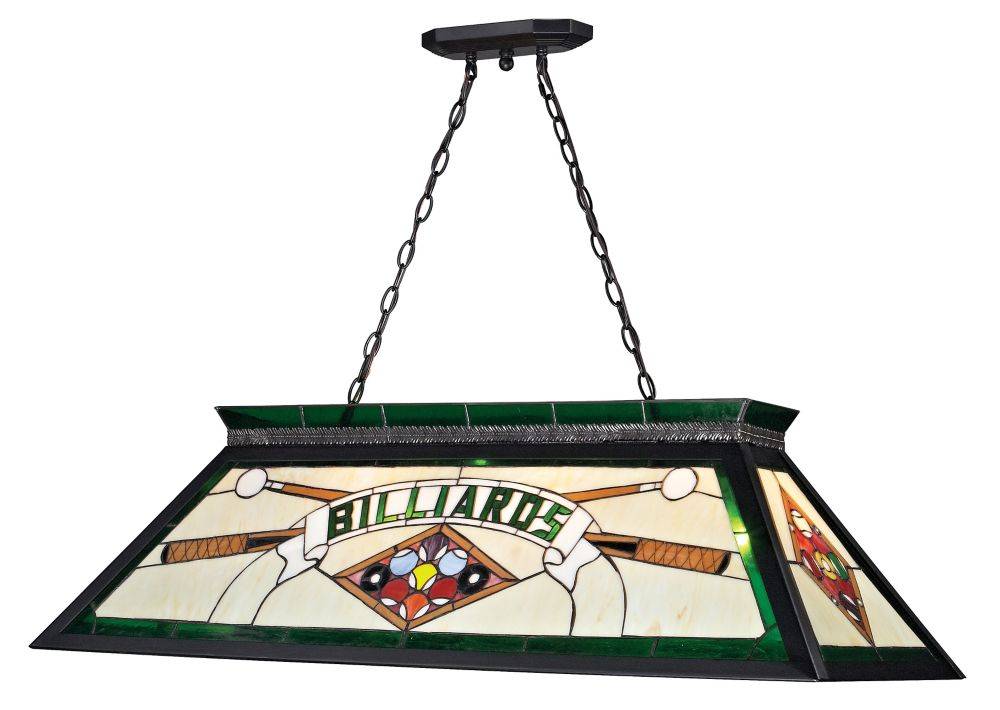 Filament Design 4-Light Matte Black Billiard with Multi Colored Tiffany Glass - 43.75 inch