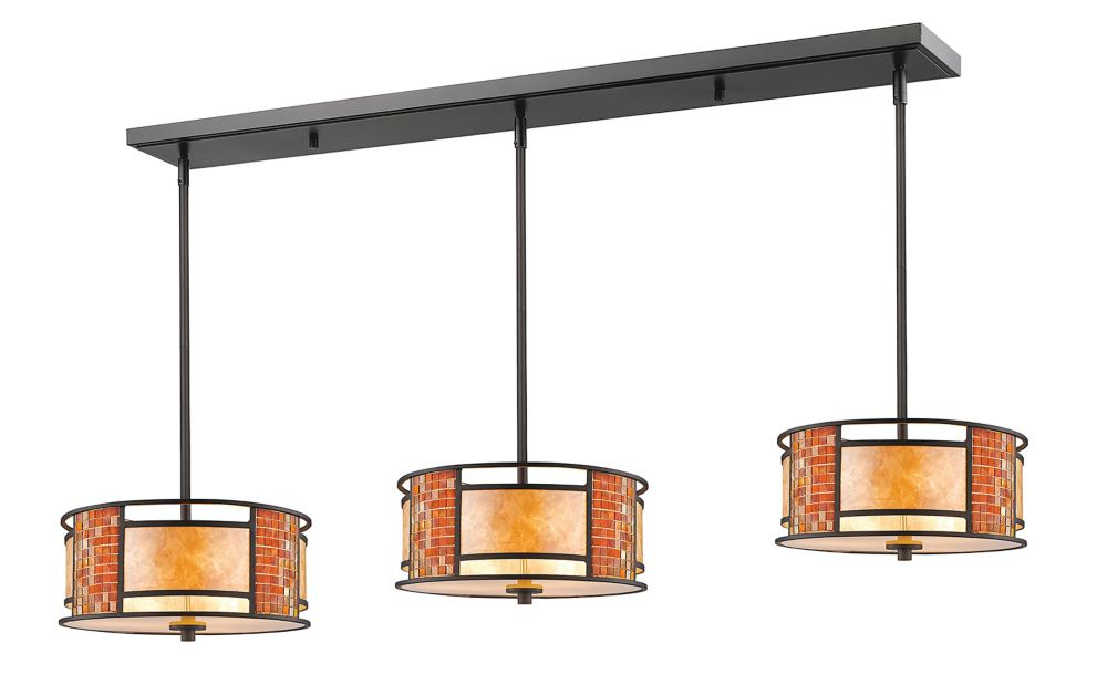 Filament Design 9-Light Bronze Island/Billiard with White Mica Shade and Tile Glass - 55 inch