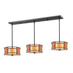 Filament Design 9-Light Bronze Island/Billiard with White Mica Shade and Tile Glass - 55 inch