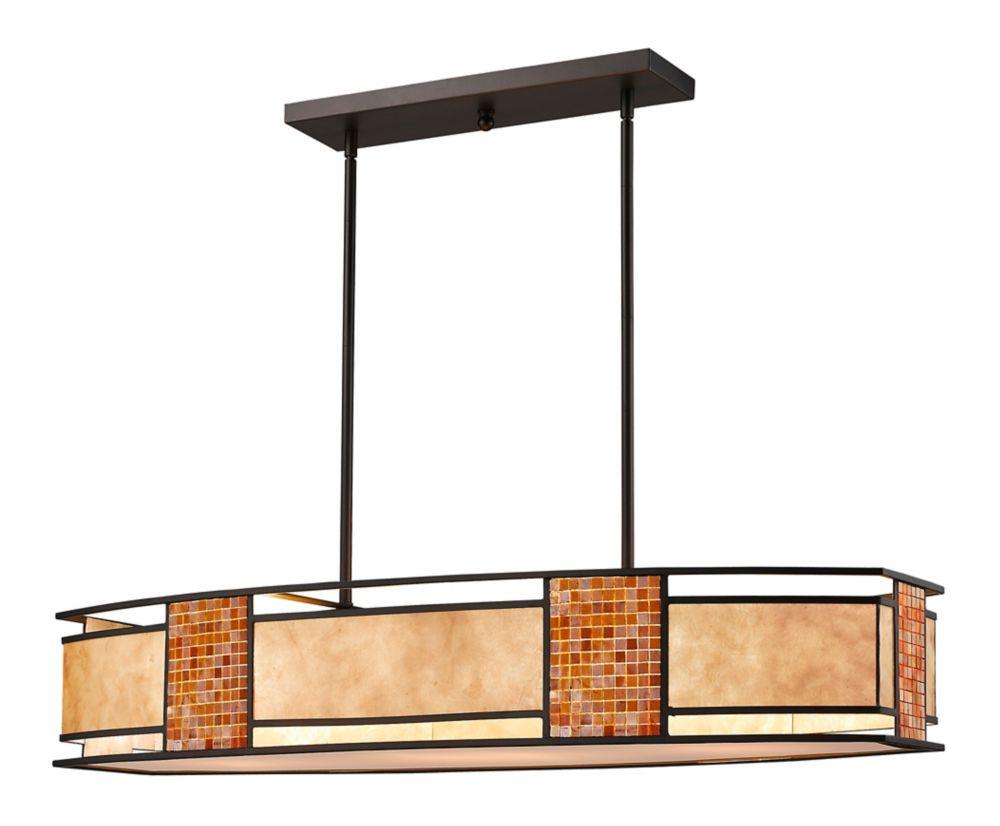 Filament Design 4-Light Bronze Island/Billiard with White Mica Shade and Tile Glass - 42 inch