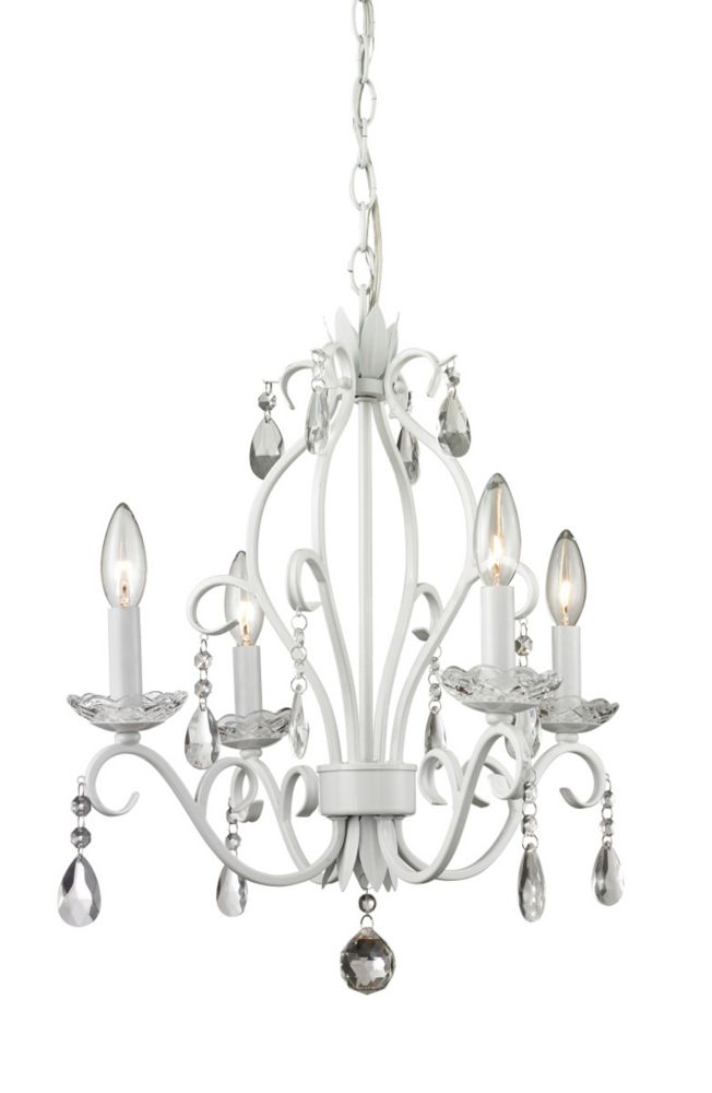 Filament Design 4-Light Matte White Mini Chandelier - 17.125 inch