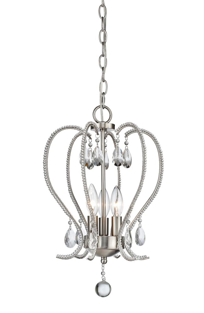 Filament Design 3-Light Brushed Nickel Mini Chandelier - 13 inch
