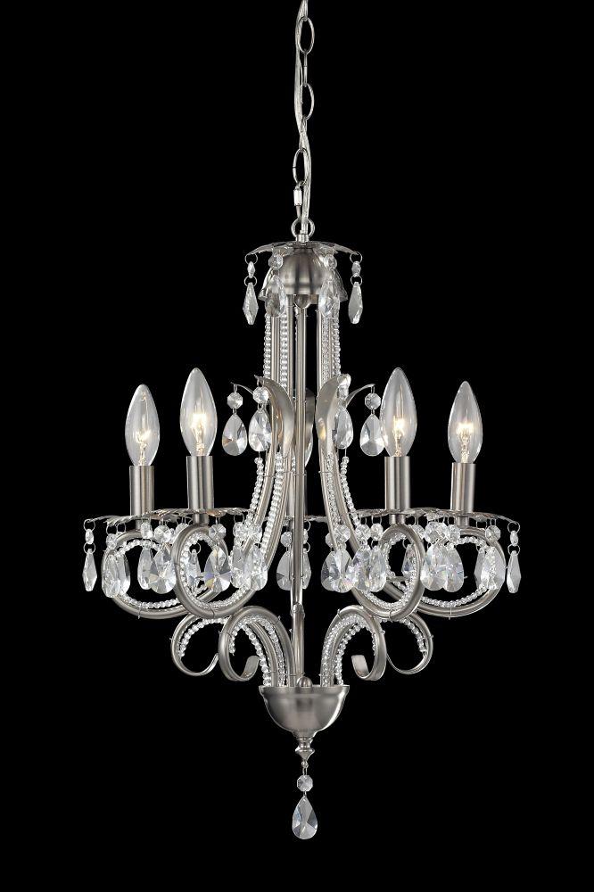 Filament Design 5-Light Brushed Nickel Mini Chandelier - 14.960638 inch