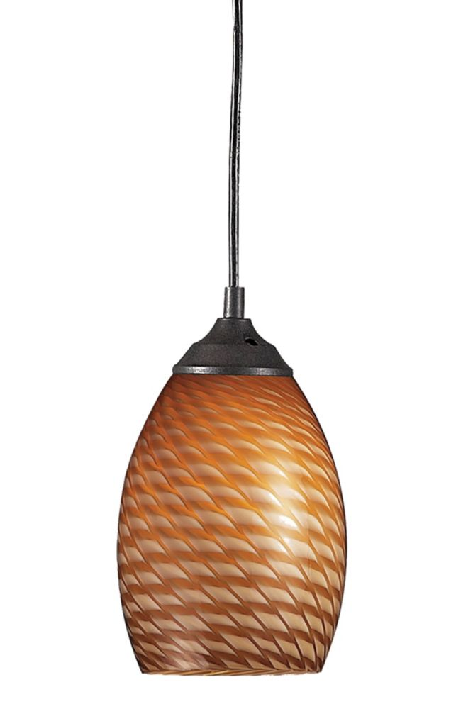 Filament Design 1-Light Sand Black Mini Pendant with Carmel Glass - 5 inch