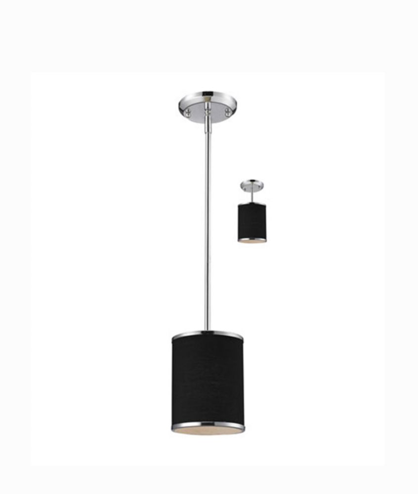 1-Light Chrome Mini Pendant with Black Fabric Shade - 6 inch