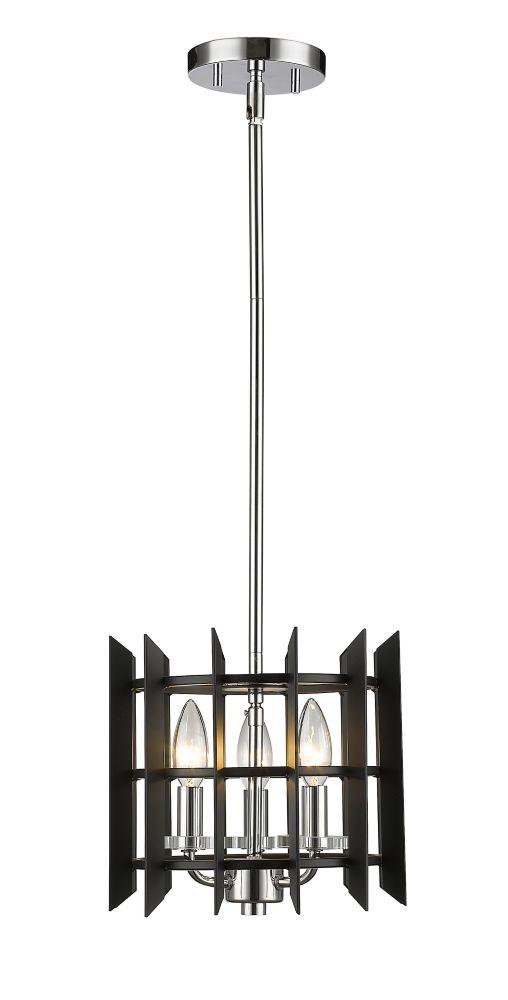 Filament Design 3-Light Chrome Mini Pendant with Matte Black Steel Shade - 10 inch