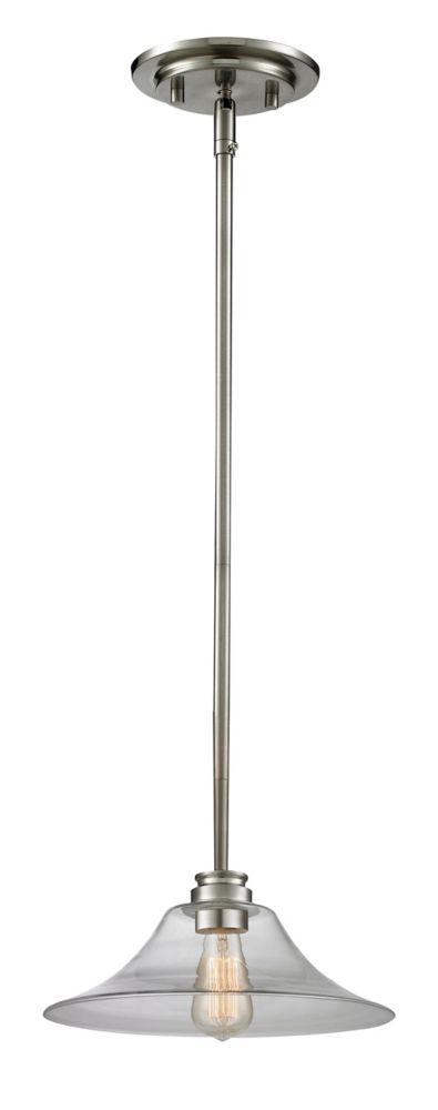 Filament Design 1-Light Brushed Nickel Mini Pendant with Clear Glass - 14 inch