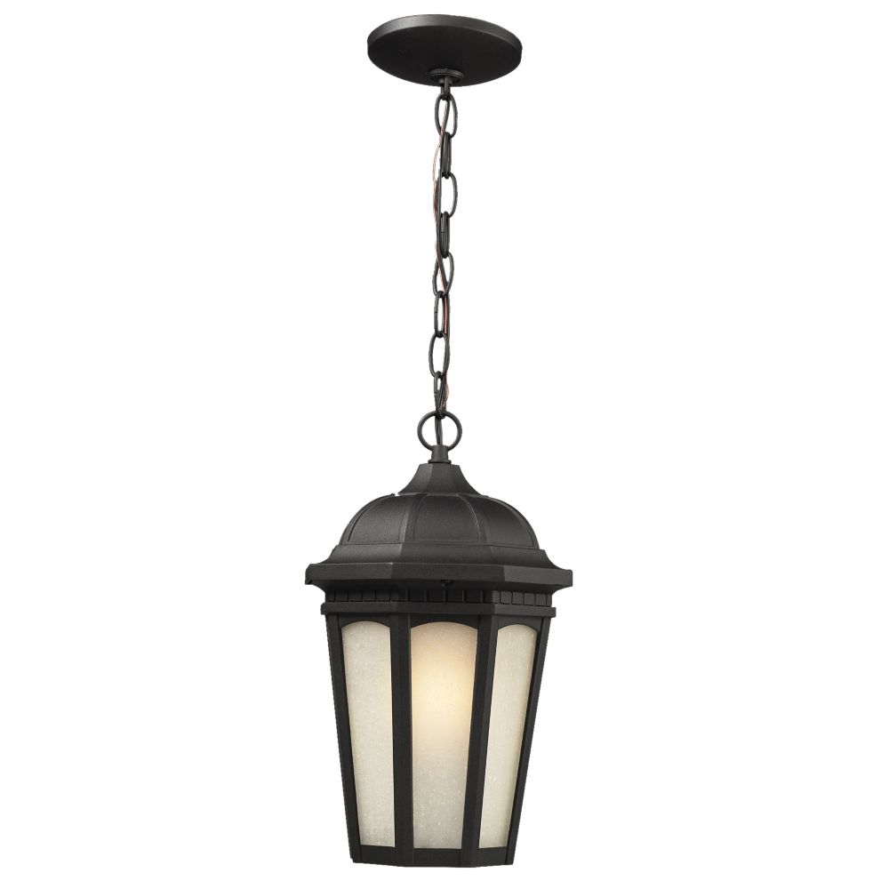 Filament Design 1-Light Black Outdoor Pendant with White Seedy Glass - 8.25 inch