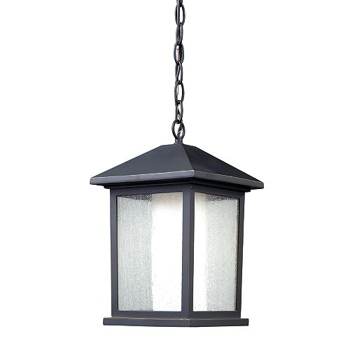 Filament Design 1-Light Oil Rubbed Bronze Outdoor Pendant with Clear Seedy and Matte Opal Glass - 8 inch