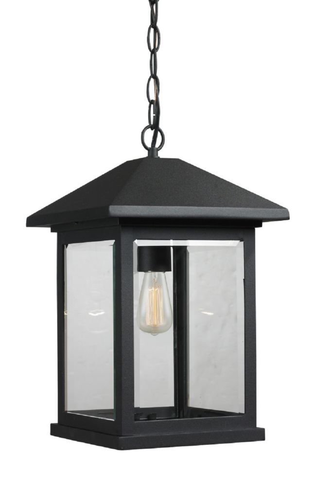 Filament Design 1-Light Black Outdoor Pendant with Clear Beveled Glass - 9.5 inch