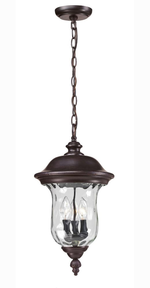 Filament Design 3-Light Bronze Outdoor Pendant with Clear Water Glass - 12.375 inch