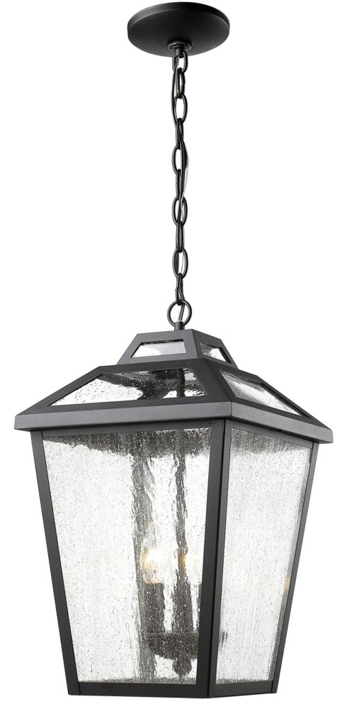 Filament Design 3-Light Black Outdoor Pendant with Clear Seedy Glass - 11 inch