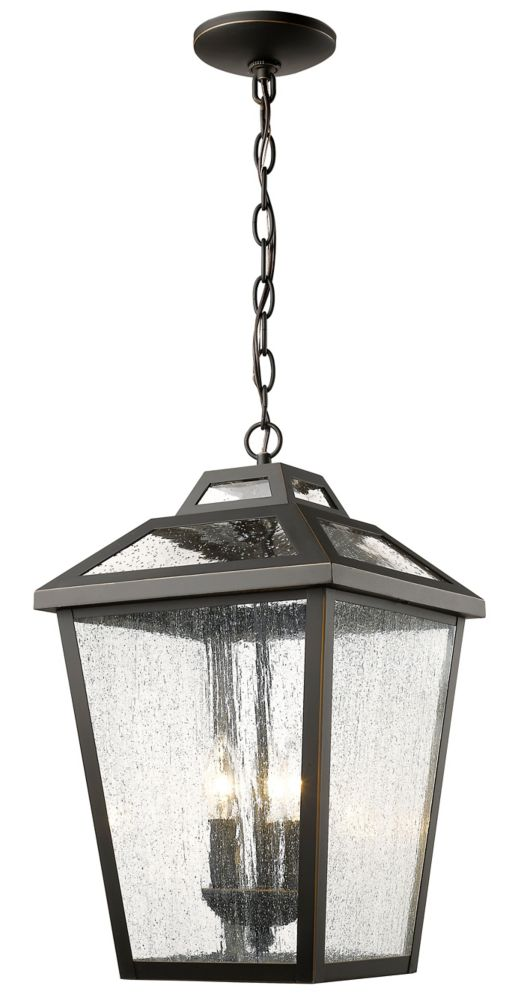 Filament Design 3-Light Oil Rubbed Bronze Outdoor Pendant with Clear Seedy Glass - 11 inch